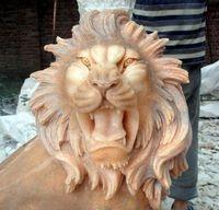 生産加工石雕工藝品擺件晚霞紅獅子頭挂件噴水獸頭挂件