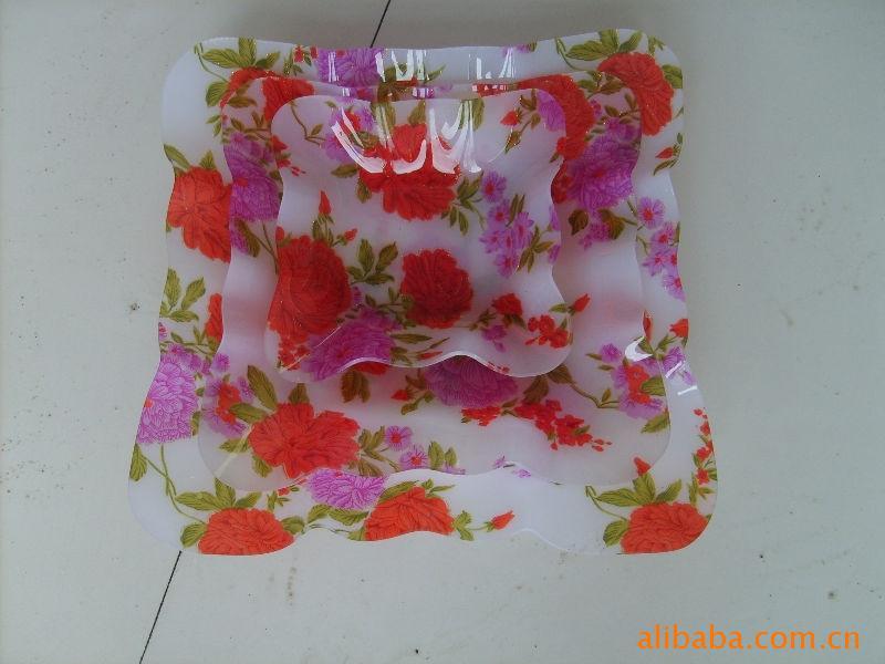 供应精美印花亚克力水果盘子 自定义LOGO塑料盘子