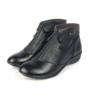 秋季新款 全真皮女鞋 拉链深口鞋 舒适平底鞋妈妈鞋 轻便女式单鞋