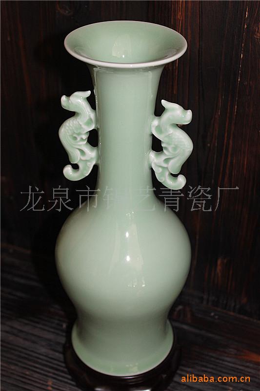 龙泉青瓷,青瓷工艺品弟窑龙凤花瓶.手工制作.装饰品