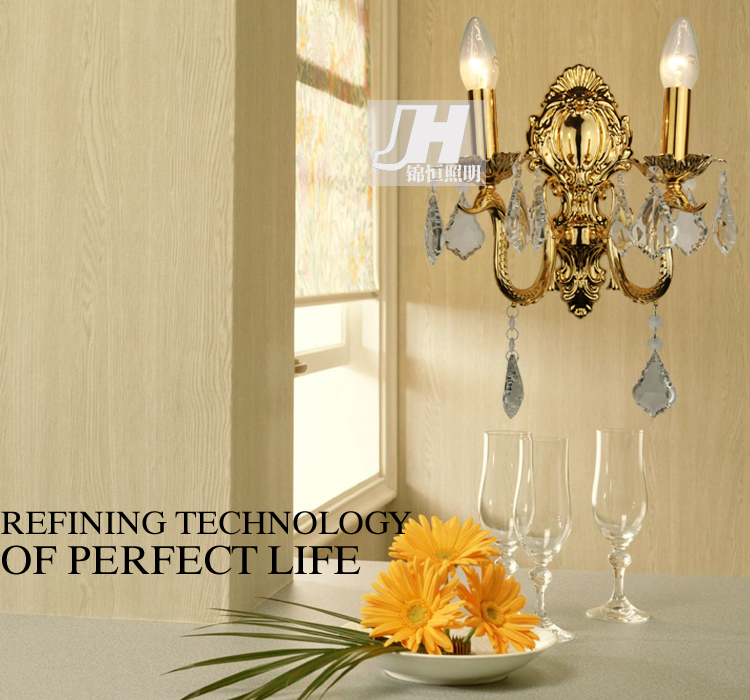 欧式简约奢华水晶灯 双头床头壁灯客厅灯饰灯具8044