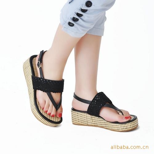 简约休闲凉鞋 花边装饰一字扣厚底中跟凉鞋 -价格,厂家,图片,凉鞋