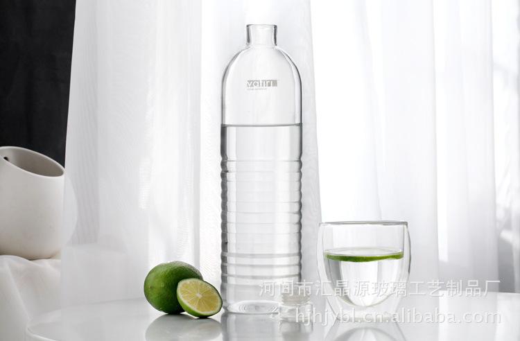 玻璃矿泉水瓶 创意车载玻璃矿泉水瓶 低碳环保 手工吹制横纹装饰 阿里图片