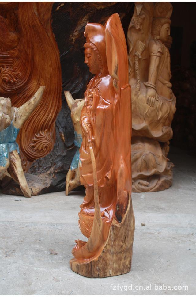 根雕工艺品 实木红豆杉 观音菩萨 佛像古玩摆件3698