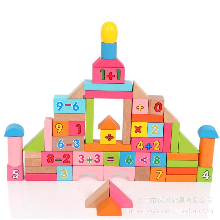 凯烨高品质80粒积木圆桶益智玩具积木堆搭数字计算榉木益智积木星钻幼教最帅机器人图片