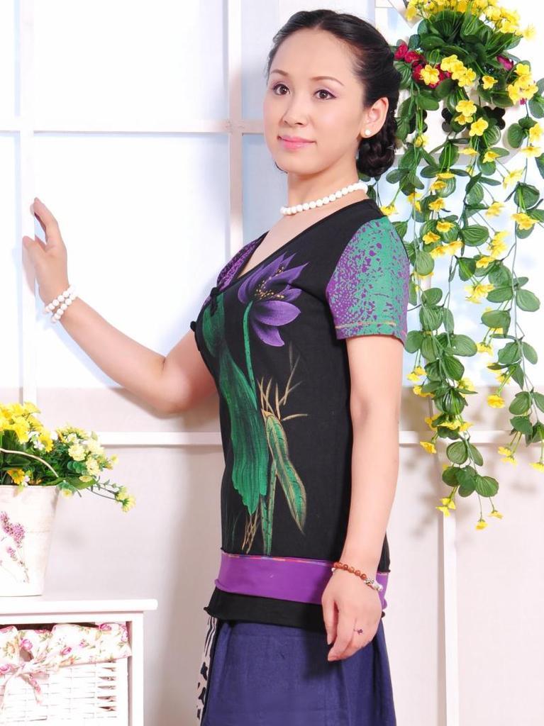 設計批發訂做Lomu,Beauty中國風唐裝旗袍繡花盤扣針織女裝短袖T恤