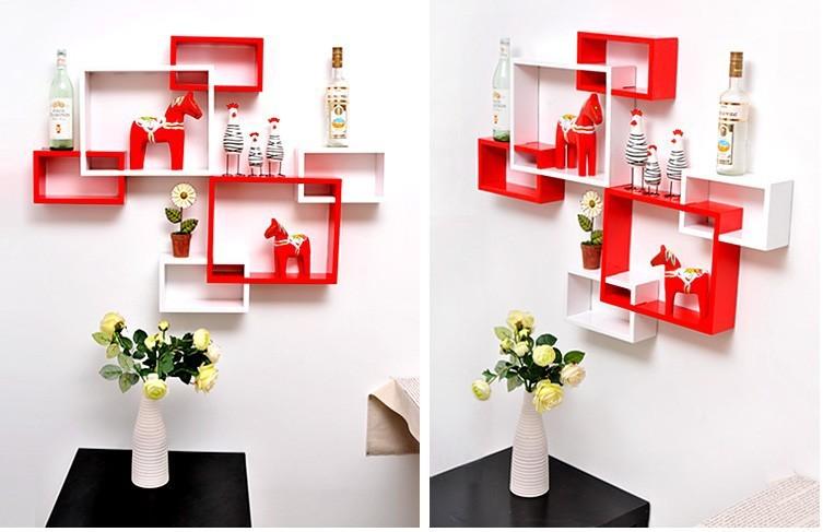 烤漆长方形三联体搁板 隔板 置物架 墙壁架 隔板 创意格子 壁挂图片,