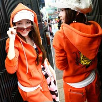 Женские толстовки и Кофты JJ86 orange casual thickening fleece sweatshirt set sports set/women's tracksuit/hoody+pants