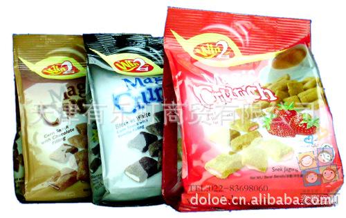 供应批发马来西亚进口零食-休闲食品 win2夹心脆果 80g