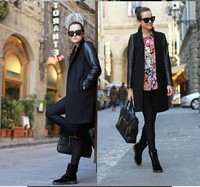 Free shippig 2012 New Arrival women's fashion Black stitching trench coat/ jacket/ outerwear /overcoat