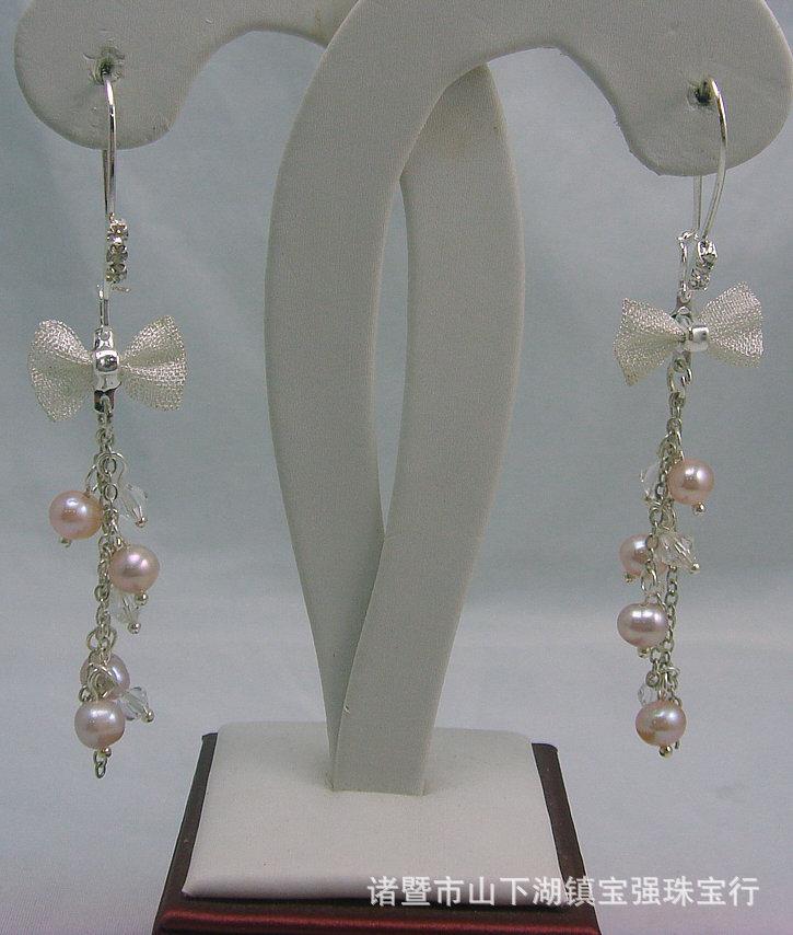宝强珠宝 时尚蝴蝶结珍珠耳环 天然珍珠流苏耳饰 清新可人