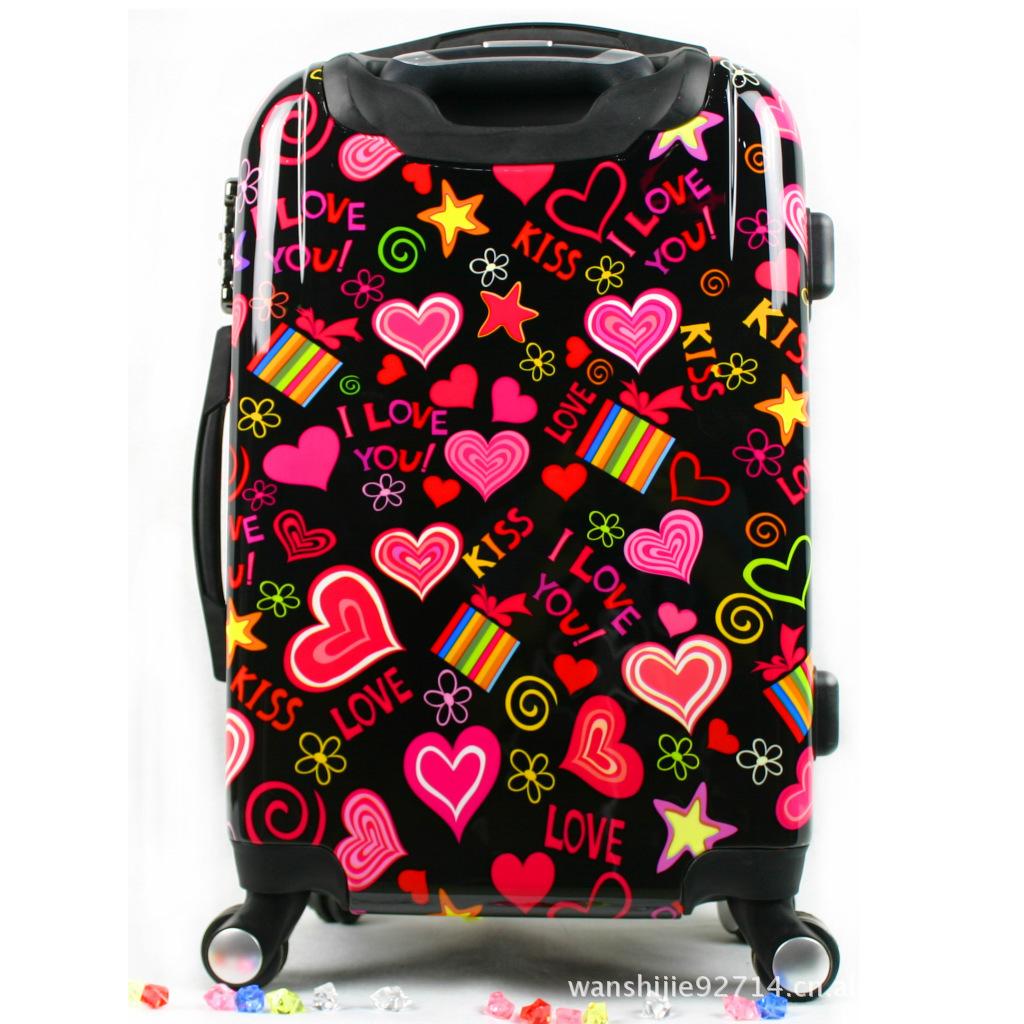 时尚爱心花纹pc拉杆箱 360万向轮旅行箱 行李箱