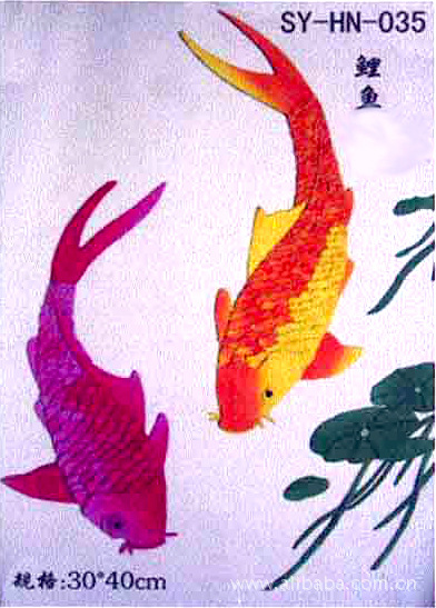 布艺画 鲤鱼 布艺贴画材料套件 布艺画手工制作加工民特色工艺品 -价
