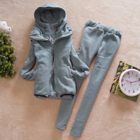 Женские толстовки и Кофты Best Sell 2012 Fall Winter Women Sport Suit Tracksuit Fleece Sweatshirt Set Hooded Hoodies+Vest+Long Pants Lady Three-Piece Suit