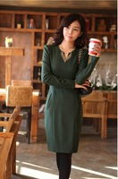 2012  women's long-sleeve slim elastic knitted elegant one-piece dress with  belt  free shipping