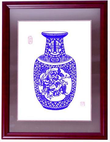 青花瓷剪纸 直销青花瓷剪纸装饰画青花瓷剪纸民间工艺 阿里巴巴