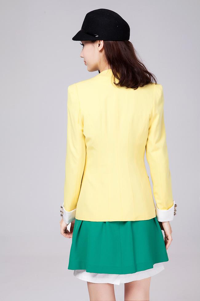 2013秋装新款韩版西服修身双层领小西装女短外套 -价格,厂家,