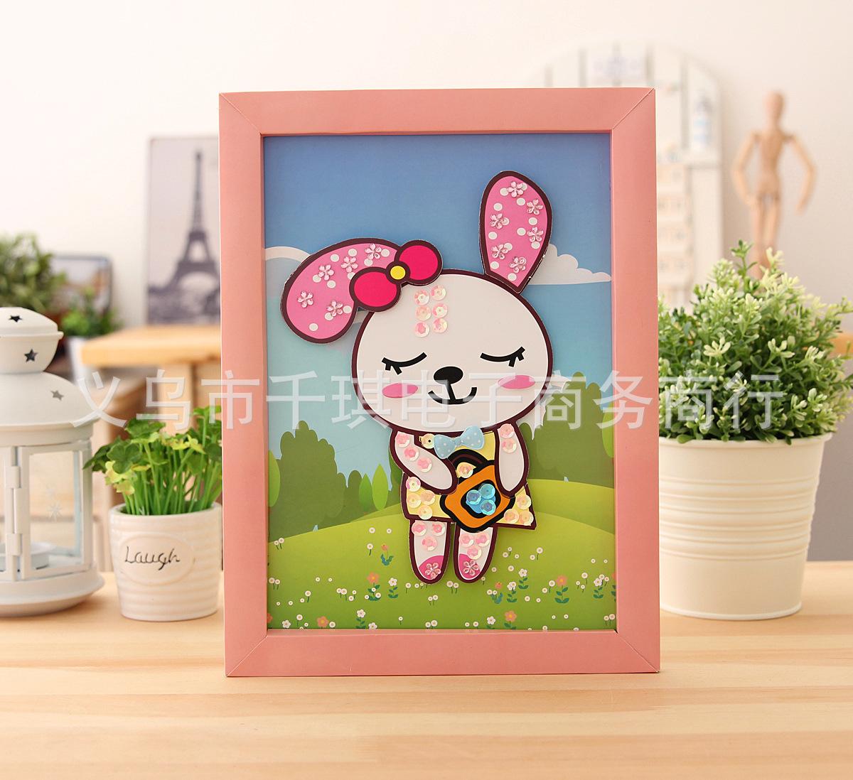 儿童diy相框立体贴画 自己动手做可爱纸质粘贴画 -价格,厂家,图