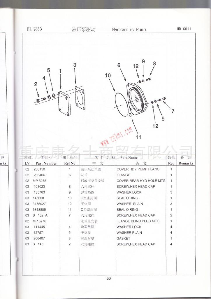 915-007-054康明斯KT(A)38零件图册4915149第060页液压泵驱动图表