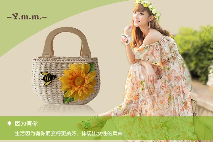 厂家批发2013新款小蜜蜂花朵草编包手提新款编织女包