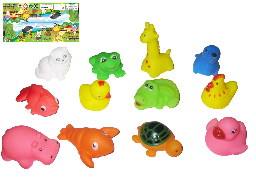 12只搪胶小动物 新品发声婴儿儿童洗澡玩具夏季批发热货