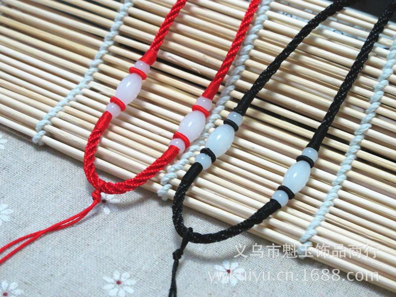玉吊坠项链穿红绳编法图解