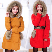Женские пуховики, Куртки 2013 autumn and winter women long-sleeve with a hood fur collar zipper solid color wadded jacket outerwear belt