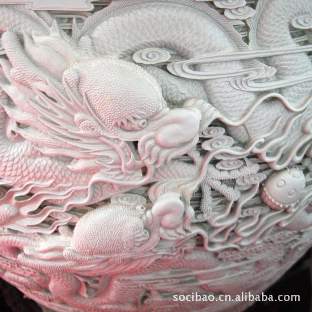 珍贵景德镇雕刻工艺品摆件,纯手工制作陶瓷艺术品 公司摆件