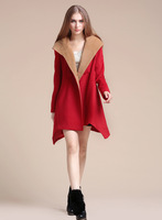 Женская одежда из шерсти Fashion woolen trench female 2013 autumn and winter solid color personalized irregular wool coat outerwear