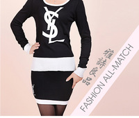 Женский костюм с юбкой High quality 2013 poem autumn women's fashion comfortable yarn short skirt sweater set knit dress