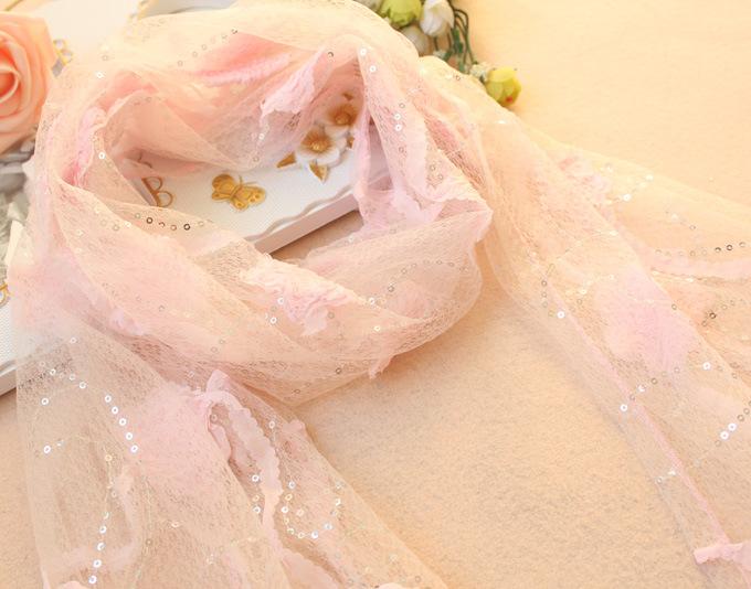 2013韩版时尚女士立体花丝巾超长巾 亮片蕾丝花朵披肩 围巾 图片_7