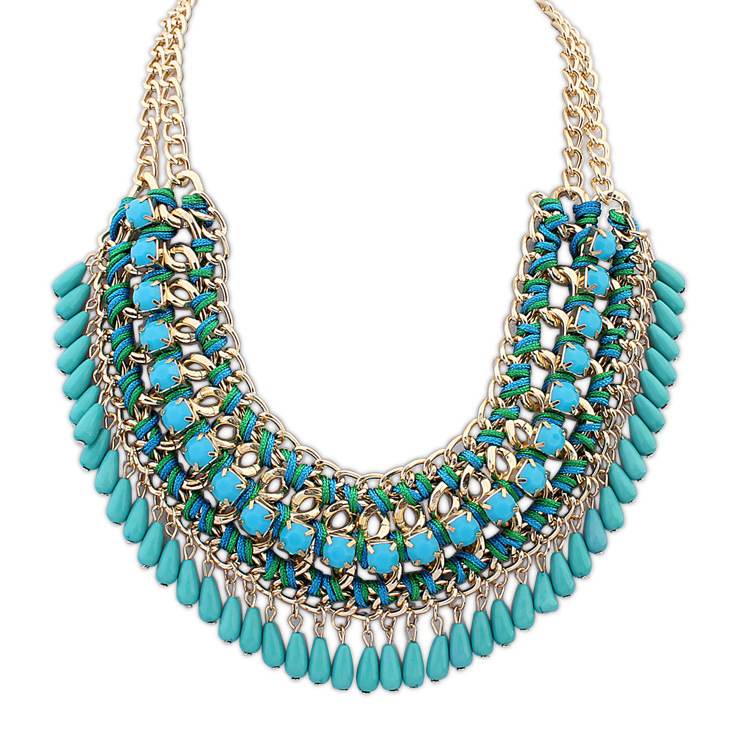 New fashion jewelry pendant chain crystal choker chunky for Turquoise colored fashion jewelry