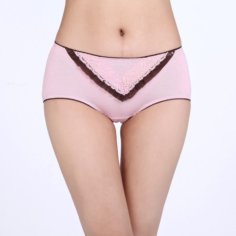 新款大碼蕾絲花邊莫代爾女士女內褲 中高腰女式內褲工廠,批發,進口,代購