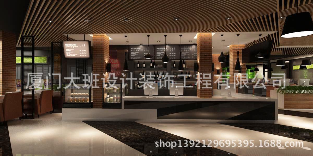 效果图吧台 500网咖装修效果高端网吧咖啡厅设计效果图吧台效果 阿里