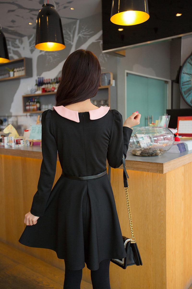 Đầm xuân thu kiểu búp bê kèm dây nịt