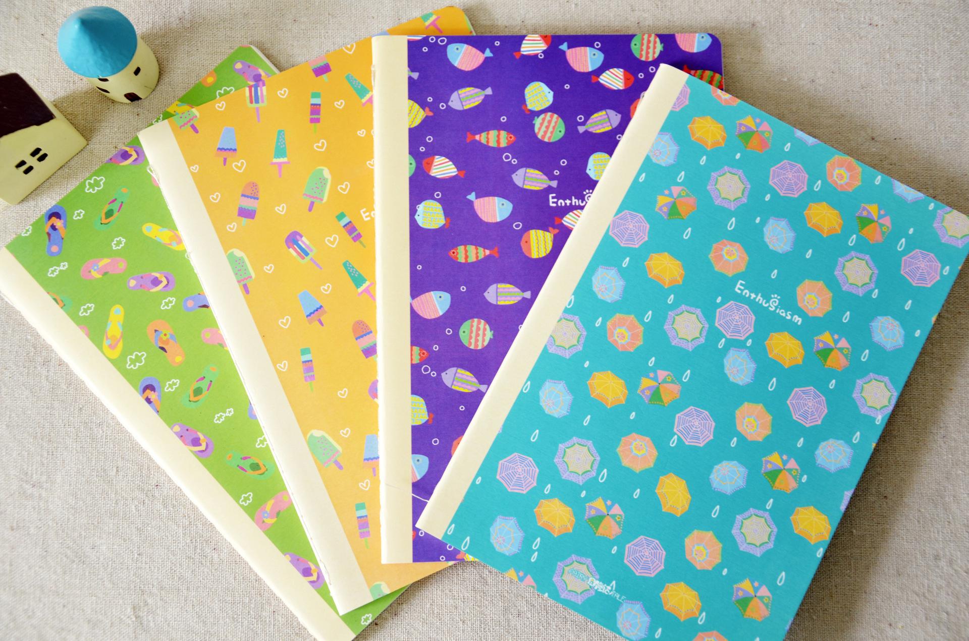 星月童话 韩国创意手绘笔记本 原创设计童趣车线本批发 热情仲夏