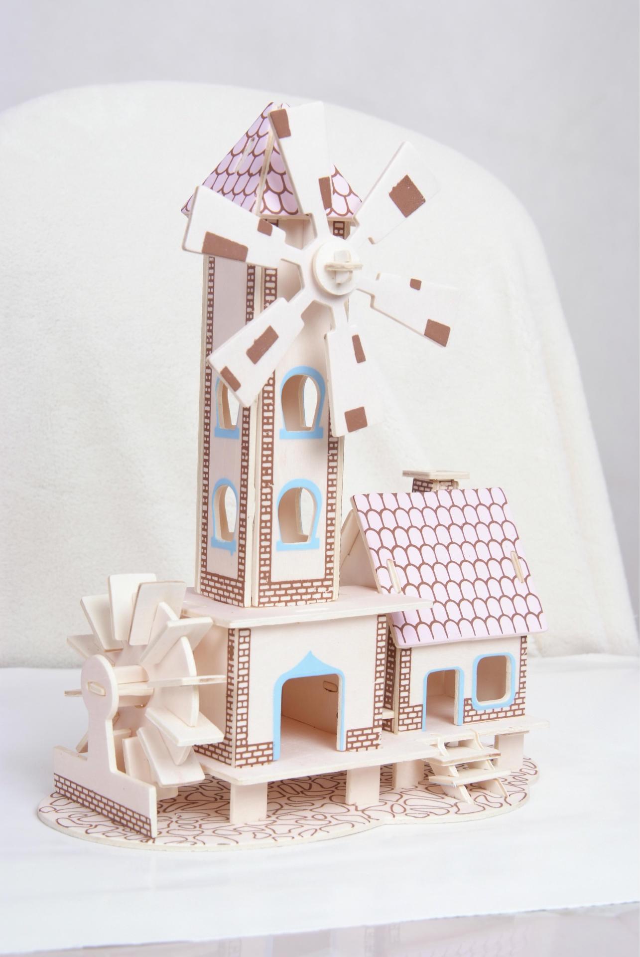拼图 拼板 幸福小屋 益智儿童 3D木质立体拼图 DIY立体拼图 木质拼图