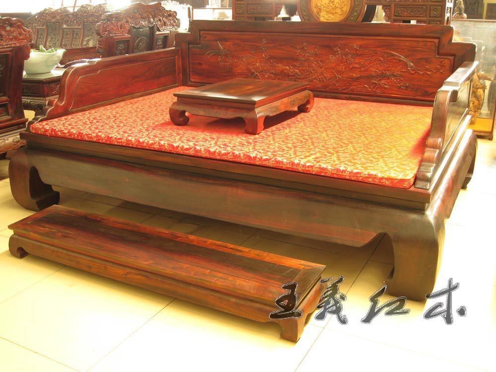 正宗大红酸枝榫卯工艺罗汉床 古典红木休闲床 王义红木家具