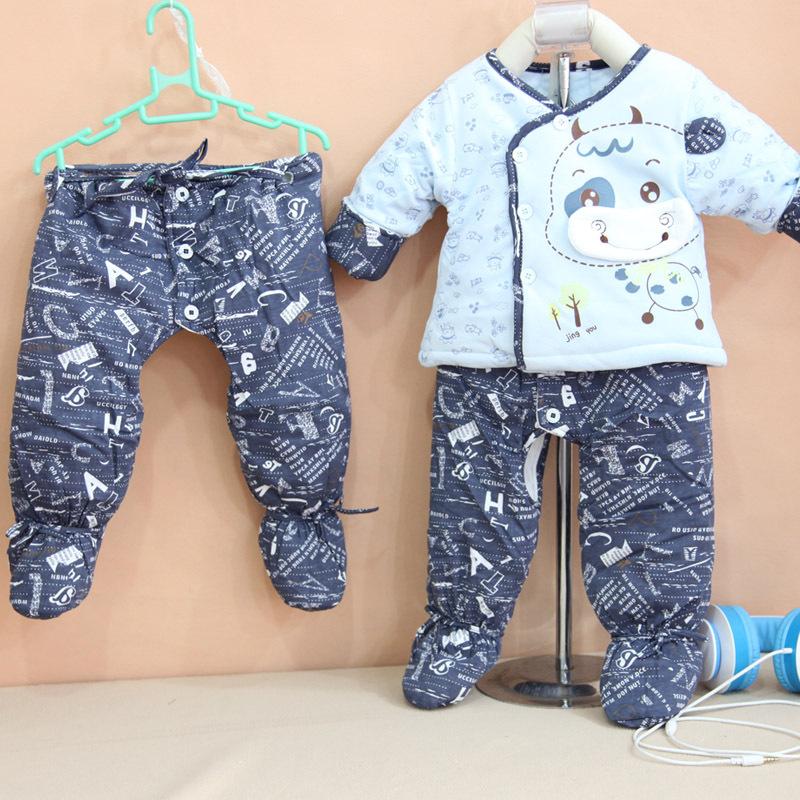 婴幼儿棉衣 新生儿棉衣棉裤套装 敬友卡通三件套 包脚三件套 -价