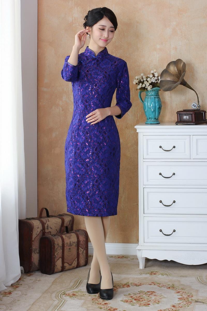 新款春秋女装旗袍 金丝绒改良时尚复古中长袖旗袍礼服 妈妈装旗袍