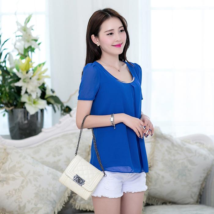2014雪纺衫 短袖 韩版夏装女装修身大码品质清凉雪纺衫上衣