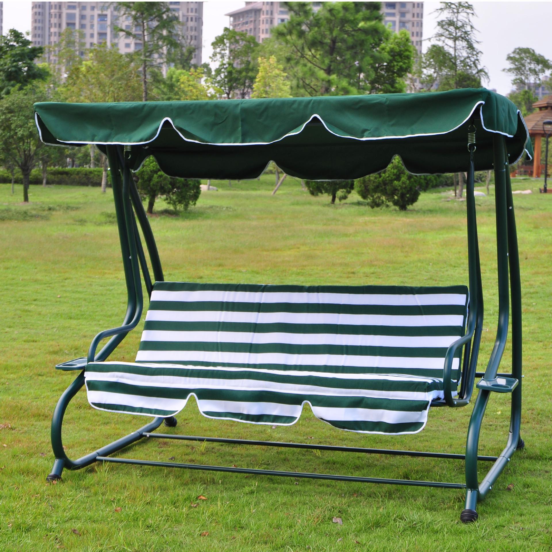 户外绿白条三人秋千吊床椅/花园/庭院休闲椅/秋千/座面可放平图片