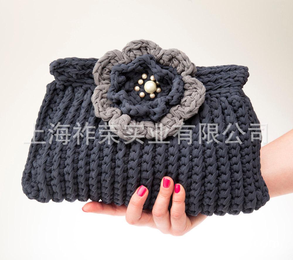 厂家加工 毛线手钩圆塑料圈手提包 毛线编织包 针织包 毛线包价格 中国