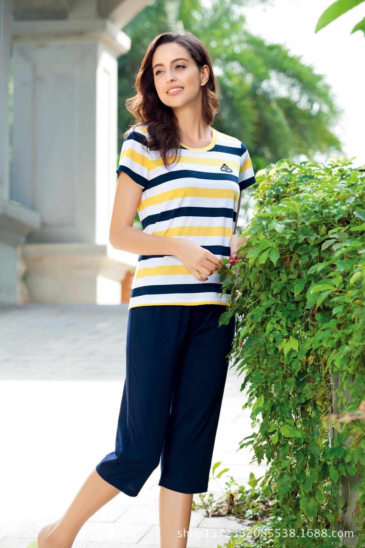 富妮来家居服女士夏季短袖睡衣纯棉条纹韩版性感修身女人睡衣