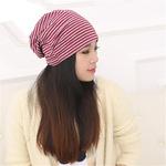 Mũ vải trùm đầu nữ thời trang, kẻ sọc phối màu giản dị, trẻ trung