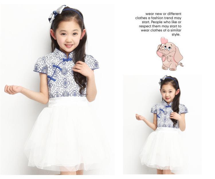 季女童舞蹈演出服装公主裙青花瓷 61六一儿童节连衣纱裙女童 童裙