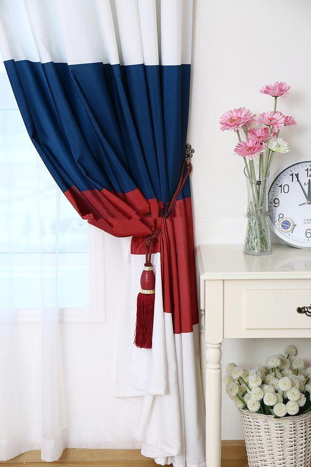 款式挂钩 印花条纹美式窗帘成品定制,零剪加工成品遮光 阿里巴巴
