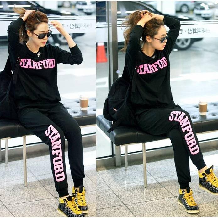 韩国爆款秋冬款卫衣女式运动套装 套头圆领外贸原单卫衣9006厚款