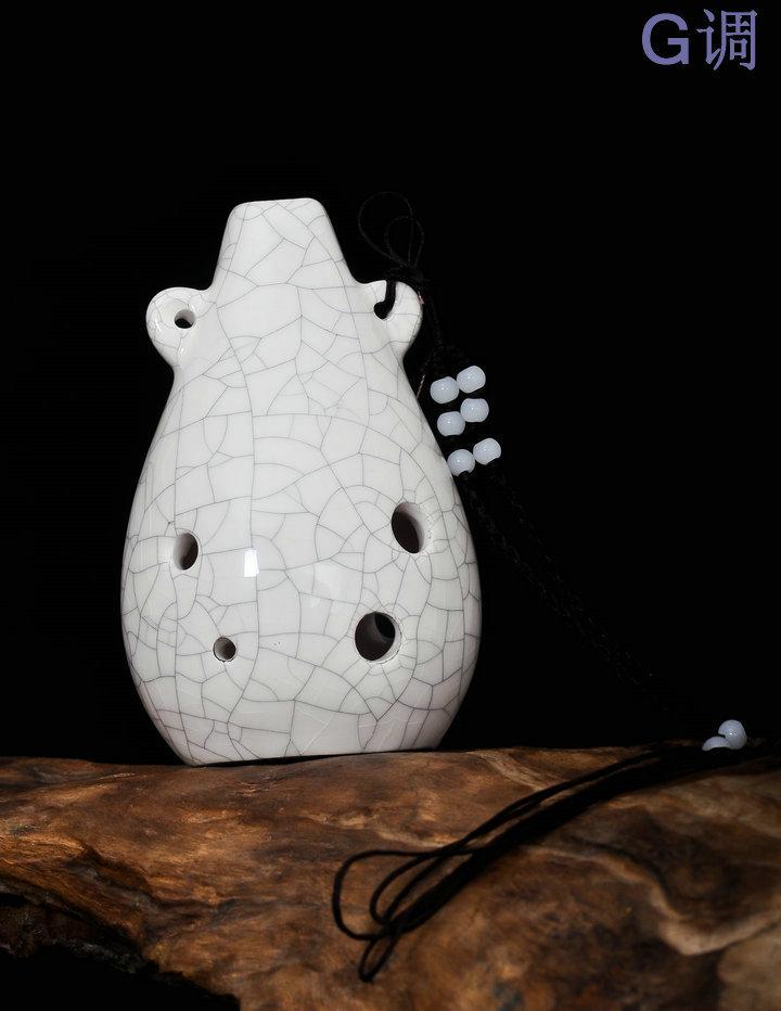 吹奏类乐器 六孔陶笛 陶瓷名族乐器 G调冰裂6孔陶瓷乐器 送曲谱