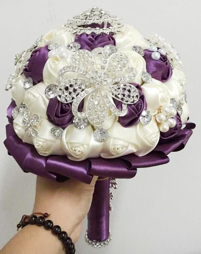 Wedding Dresses Accessories Satin Rose Wedding Bouquet Pearl Crystal ...